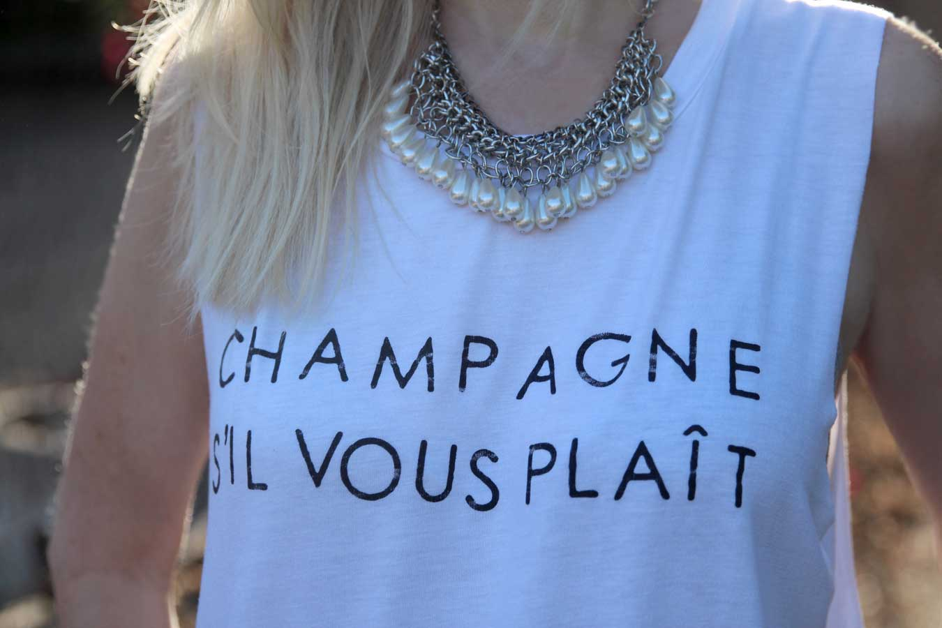 currently crushing, champagne sil vous plait t shirt, j crew distressed boyfriend jeans