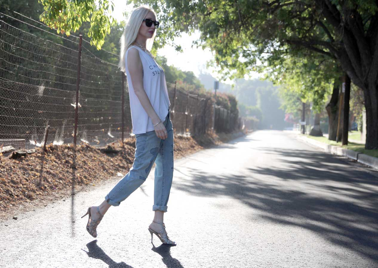 currently crushing, j crew distressed boyfriend jeans, champagne sil vous plait t shirt