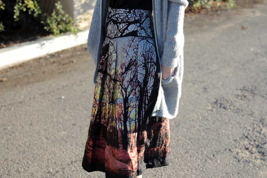 currently crushing, tracy reese a line skirt, free people oversized cardigan