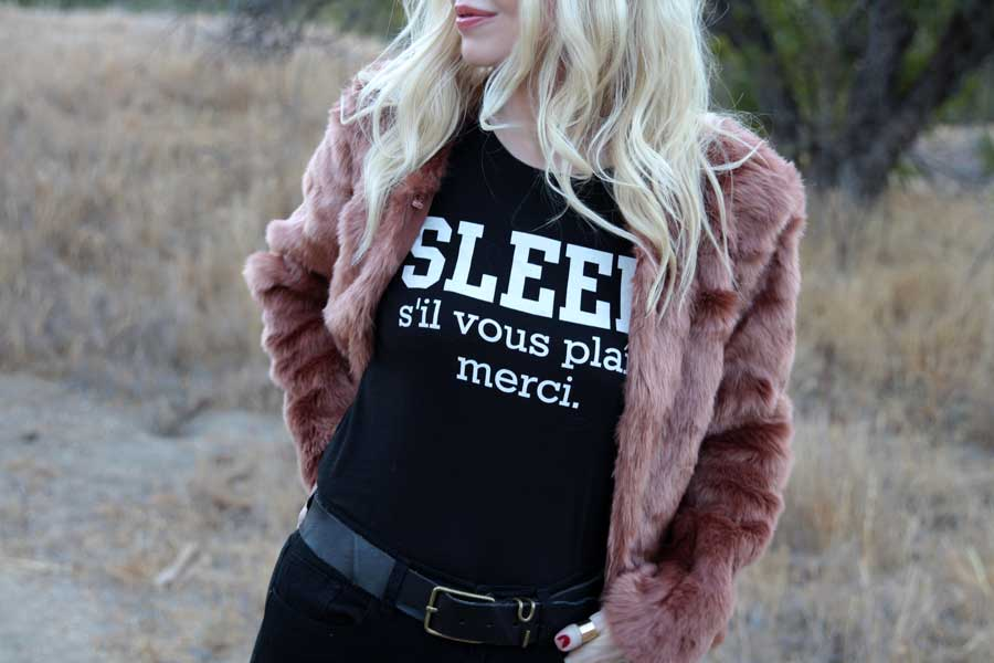 currently crushing, forever 21 faux fur jacket, sleep please tee, urban outfitters high waist skinny jeans, sam edelman petty booties