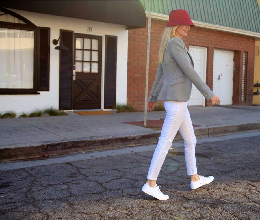 currently crushing, scala rain hat, zara structured blazer, champagne please tee, jordache jeans, white jack purcell converse