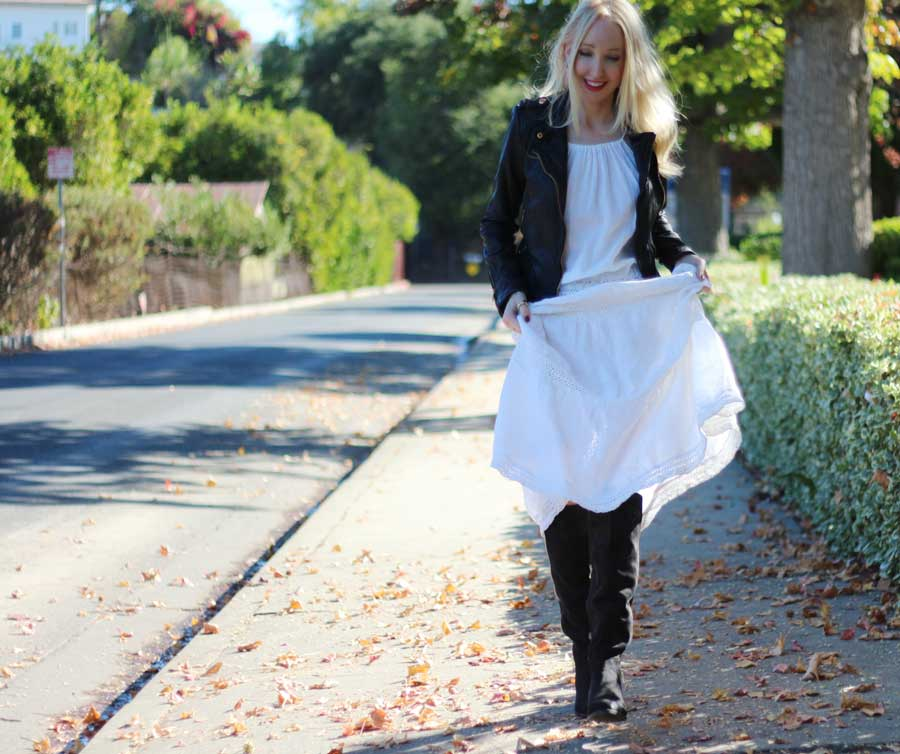currently crushing, nyla shoes over the knee boots, zara moto jacket, rue gembon earrings