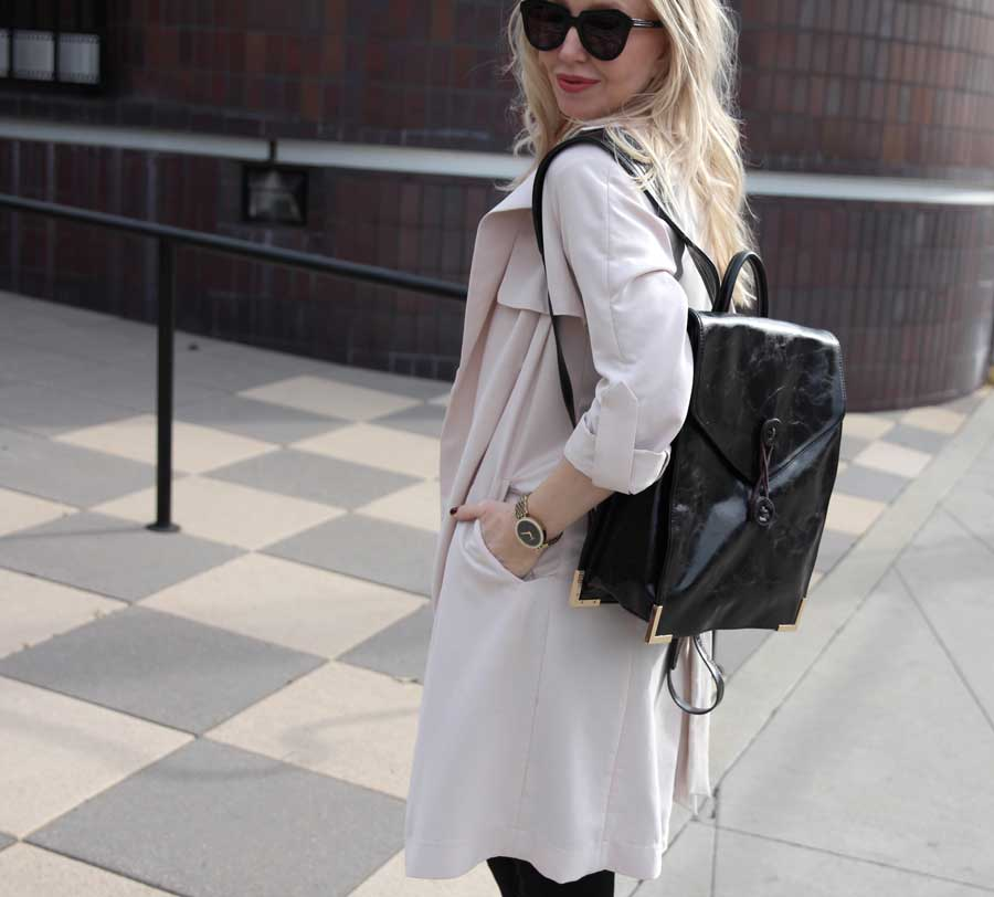 h&m trench, hudson barbara high waist black jeans, LANY backpack, junk food clothing tee, karen walker sunglasses, currently crushing, jessica simpson heels