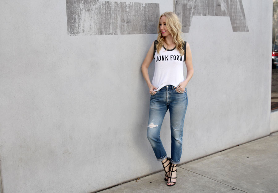 junk food clothing, currently crushing, bcbg gladiator heels, vintage levis 501, pandora jewelry, vogue blogger