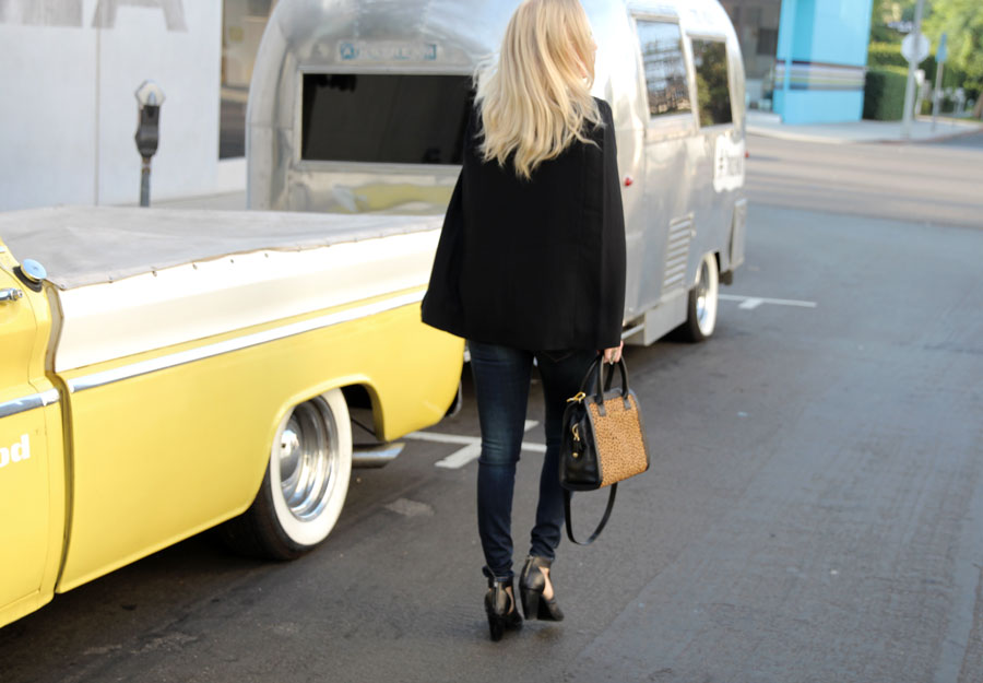 LuLu's, currently crushing, BB Dakota cape blazer, Hidden Denim jeans, Emu heels, vera bradley satchel, wildfox aviators