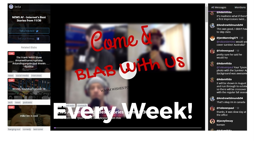 Join us on BLAB Every Week