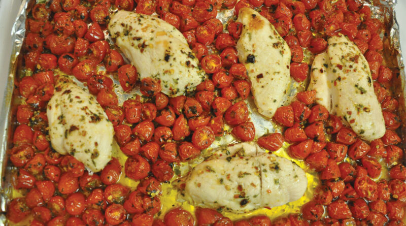 cherry tomatoes and tarragon chicken