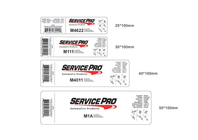 Service Pro Spin-on Oil Filter Labels