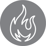 Gray Circle With Fire Icon Inside