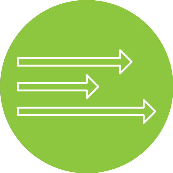 Green circle with white arrows inside