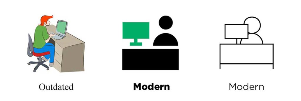 Outdated vs Modern icon styles