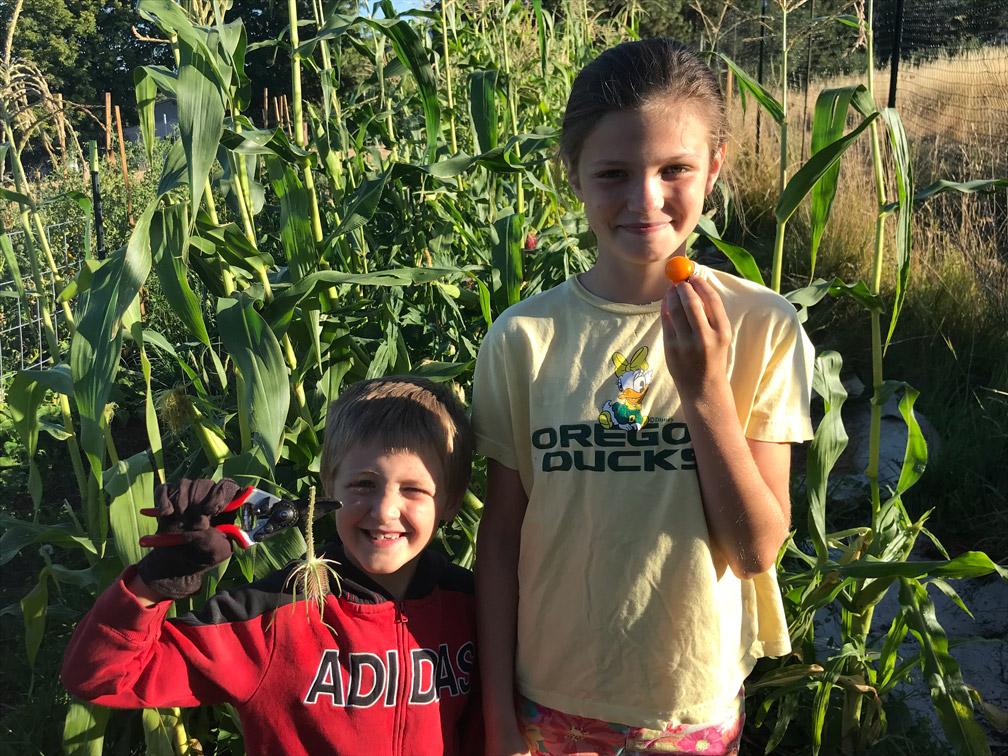 Kids in the Garden at Almosta Farm Cove Oregon