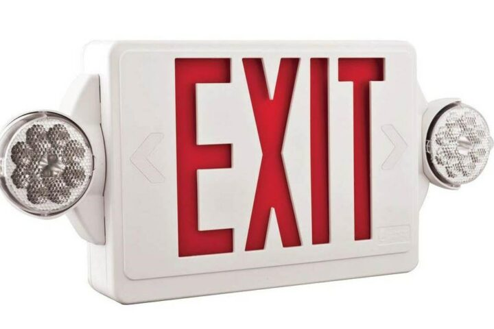 exit sign with lights