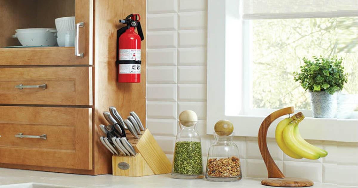 fire extinguisher hanging in kitchen