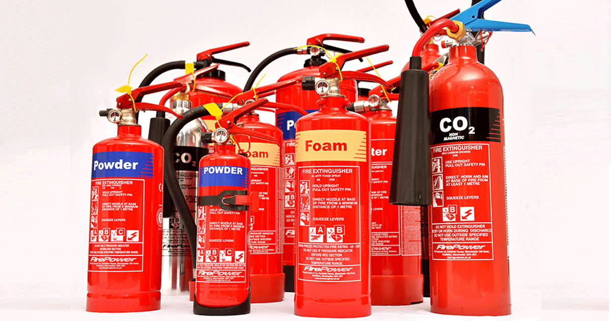 fire extinguishers of many types