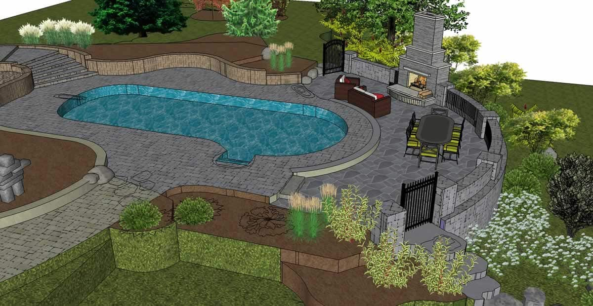 3D_plan-render-pool-patio-fireplace-furnishings-plants