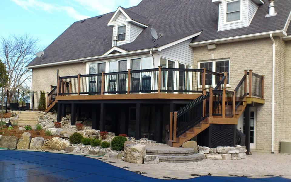 IPE wood deck with decorator rail, patio and walkway