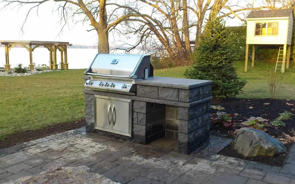 Black granite outdoor BBQ