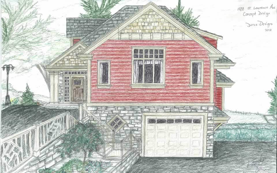 Concept Sketch of Arts and Crafts Style House Exterior