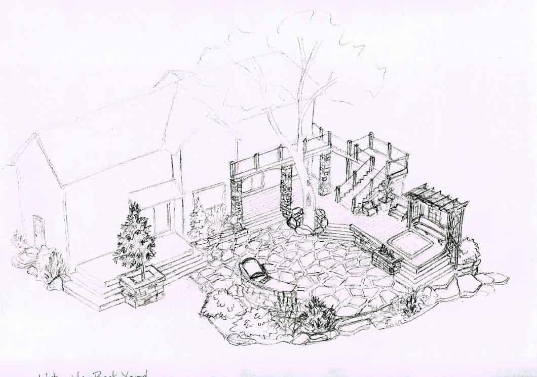 Concept Sketch of House Waterside Yard