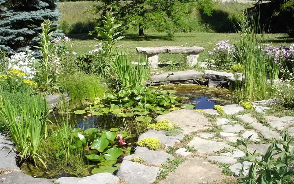 Pond with stone bench and flagstone surround