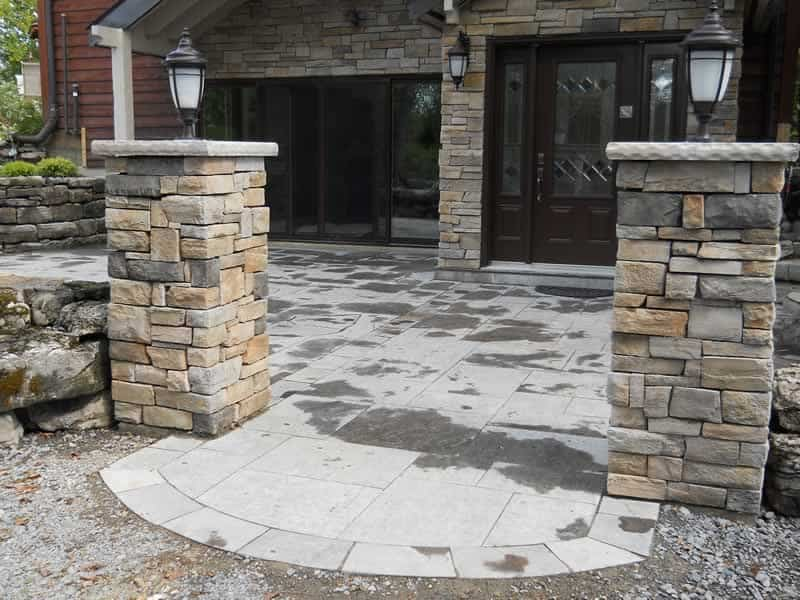 Square-cut Limestone patio and Entrance Posts