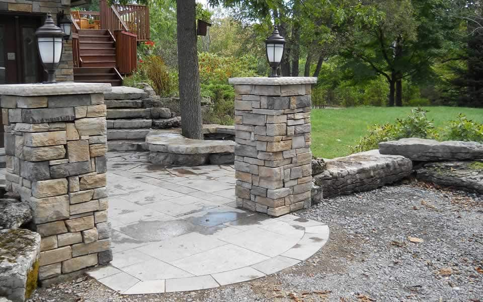 Stone Entrance posts with Lighting