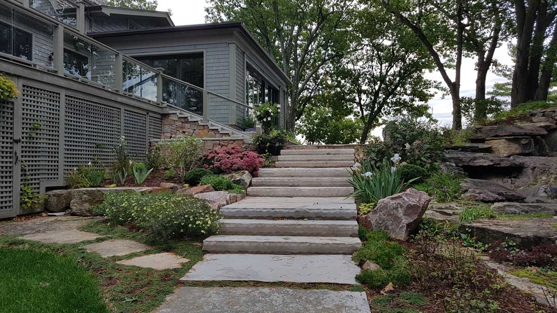 Limestone steps and multi-level gardens