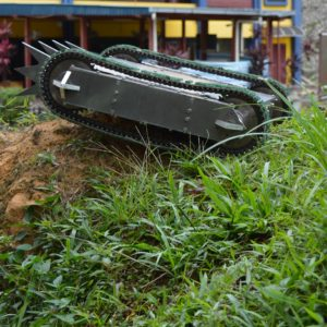 MARK II combat robot project developed by CRAE TECH, Placed on a Grass Hill.