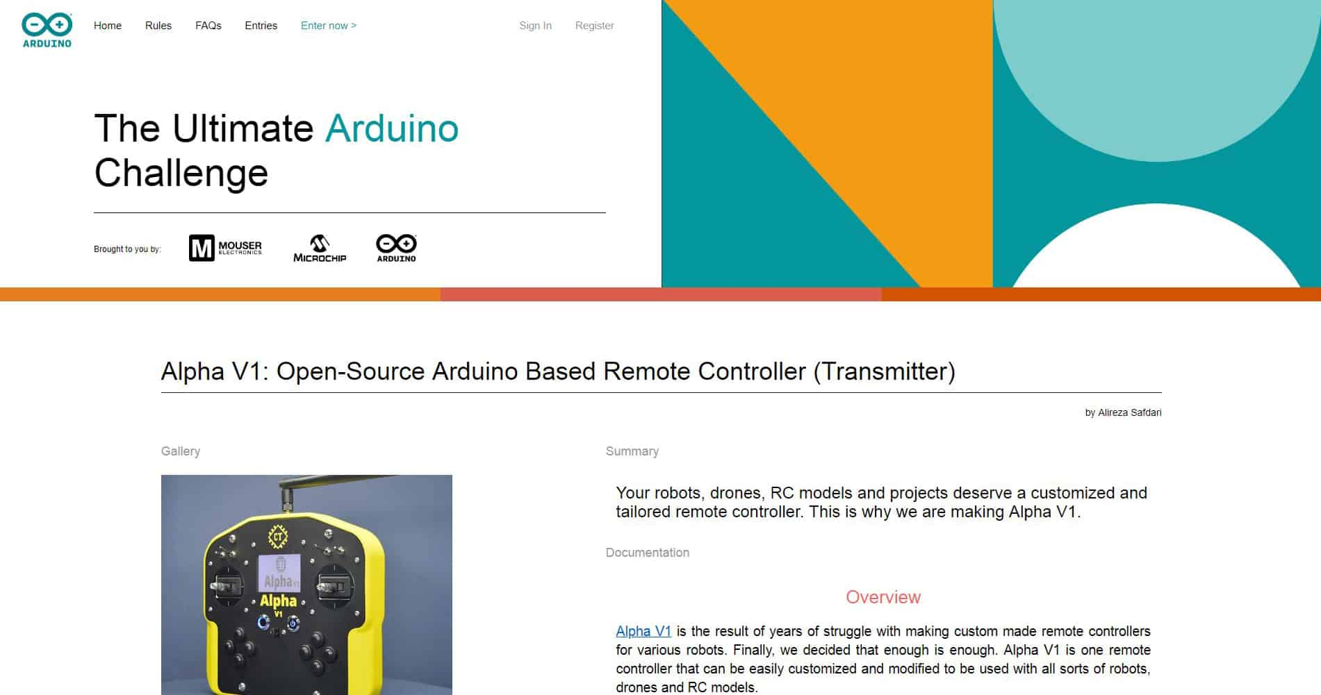 Alpha V1's Entry for Arduino Challenge 2019 (Screenshot)