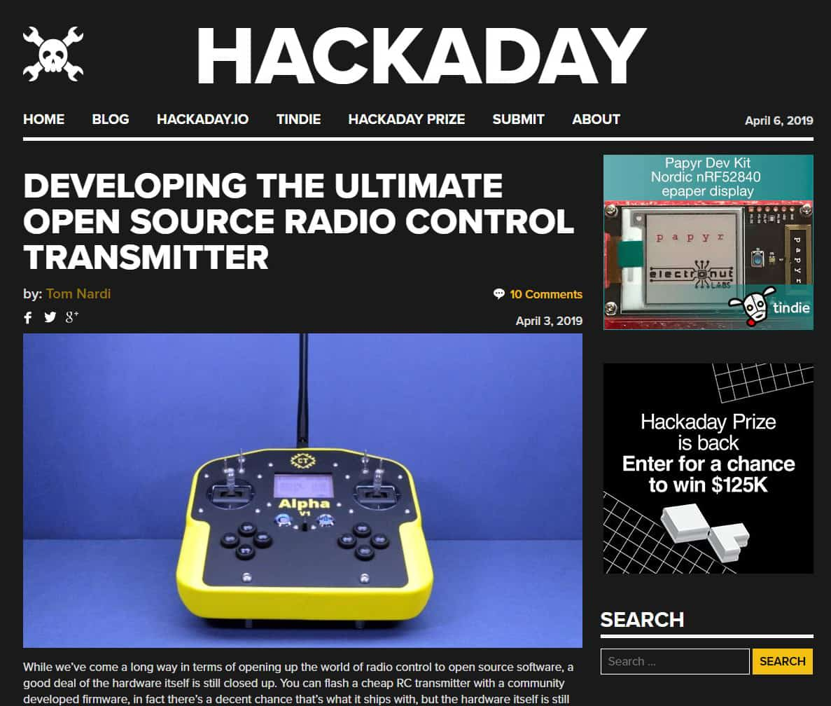 Alpha V1 featured on Hackaday (Screenshot)