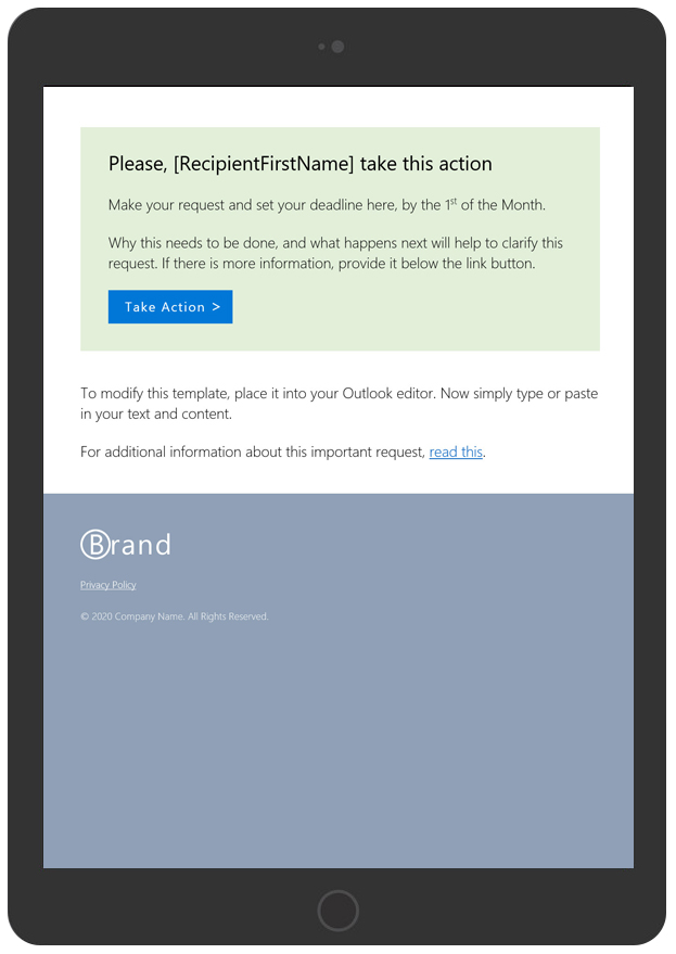 Take Action Email