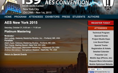 Bob Ludwig and Adam Ayan to be speaking at the Platinum Mastering Panel at 139th AES Convention in NYC!