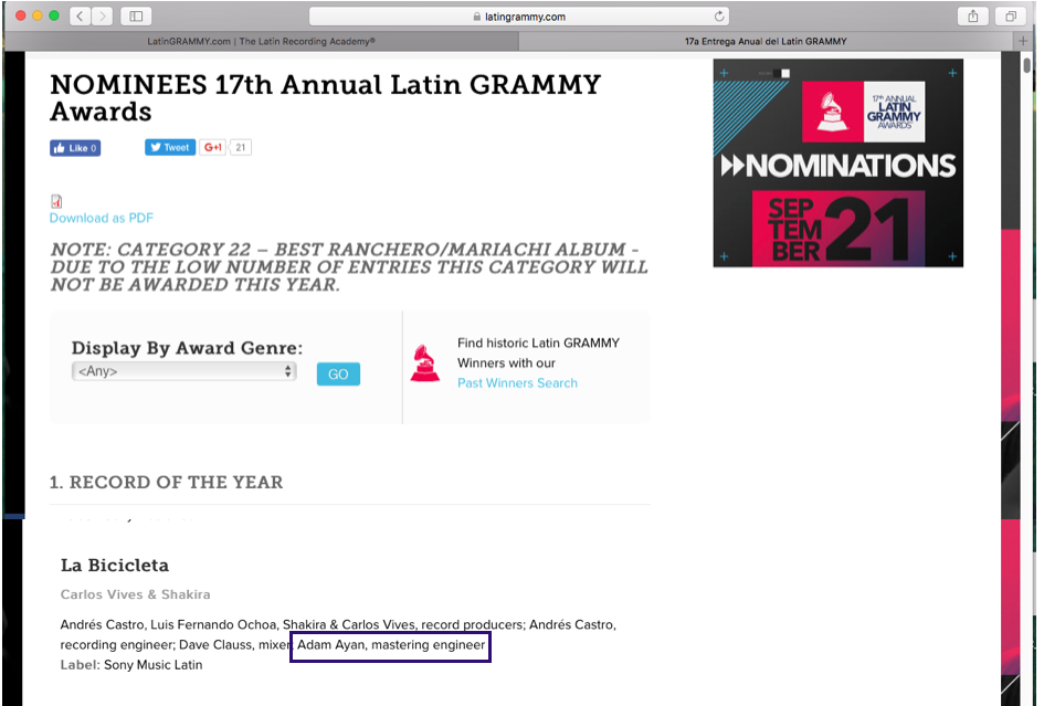 Adam Ayan is nominated for a Latin Grammy!