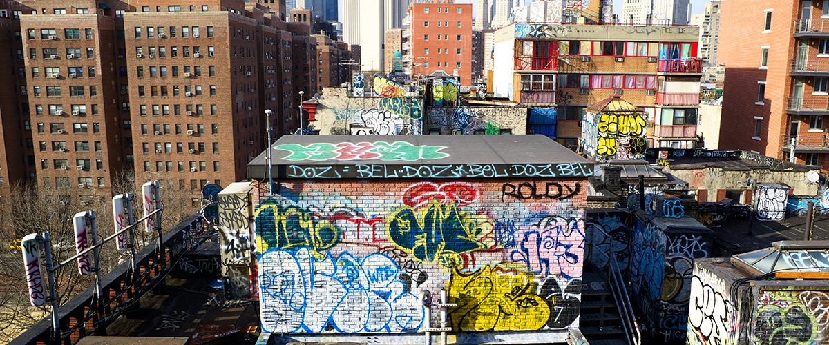 Graffiti atop buildings in China Town in New York City