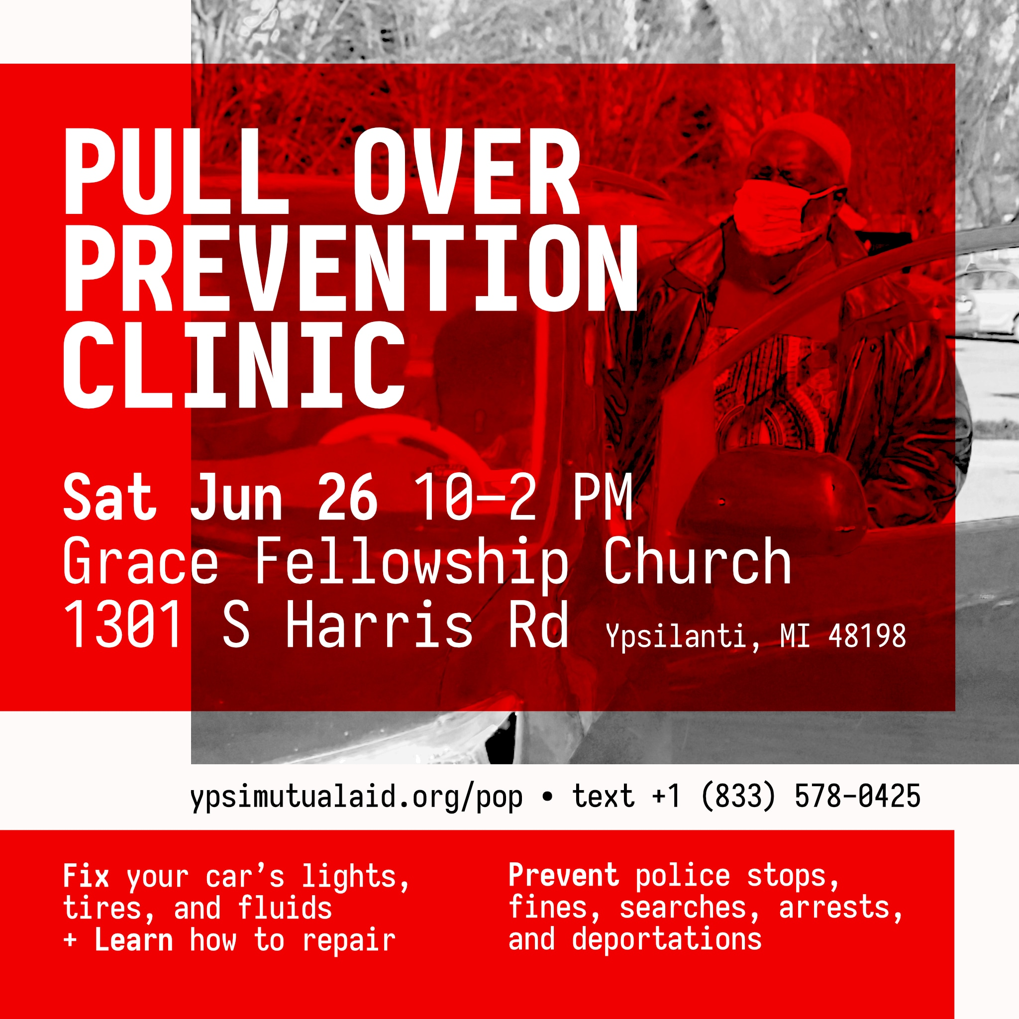 Shareable graphic for Pull Over Prevention Clinic, June 2021.