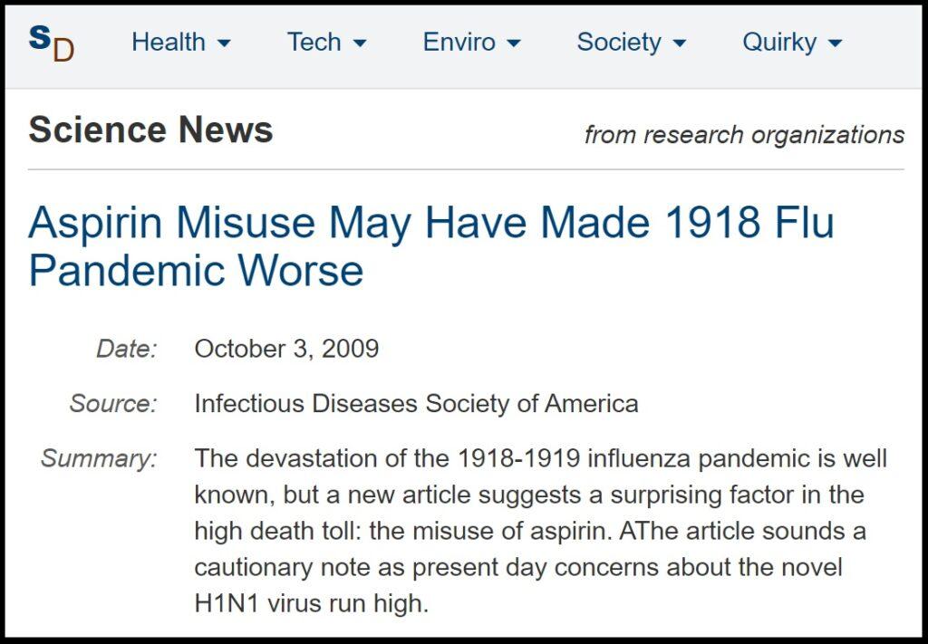 aspirin spanish flu high death rate