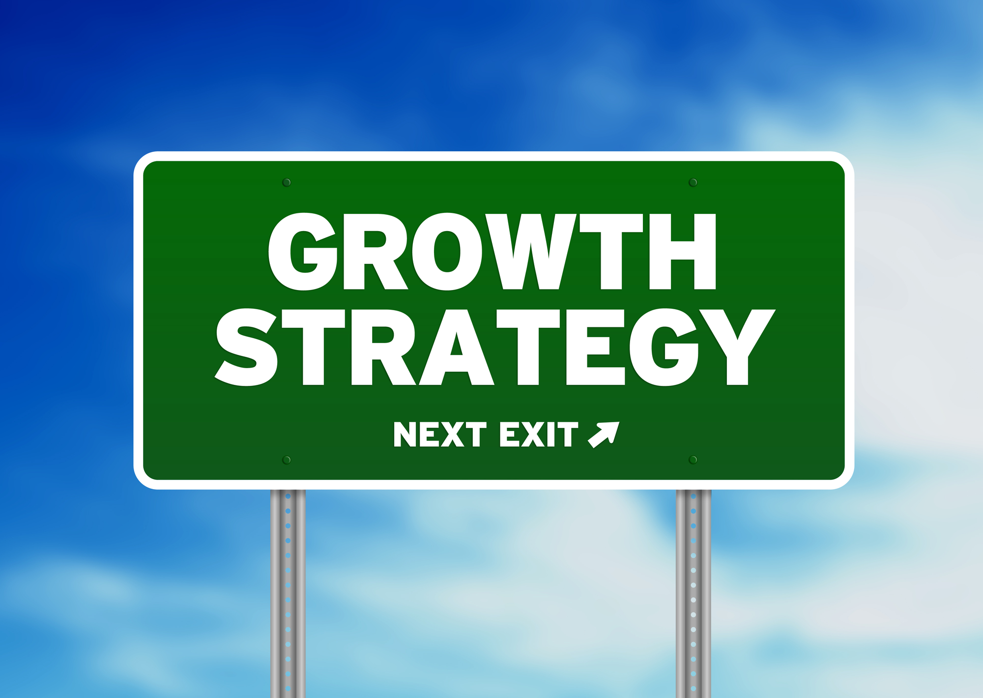 Green Growth Strategy highway sign on Cloud Background.