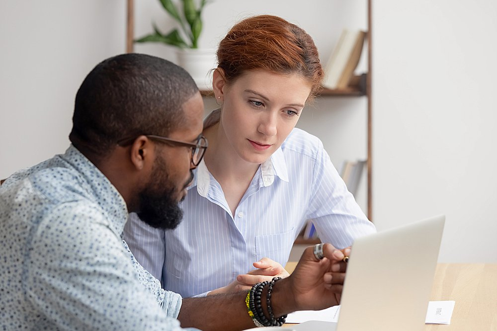 African mentor consultant explaining computer work to caucasian intern client
