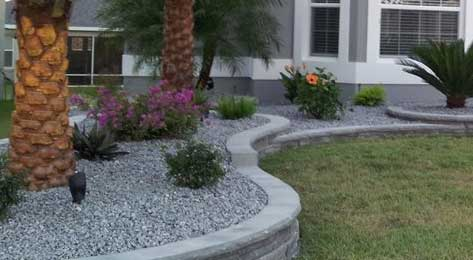 Clean chip gravel landscaping