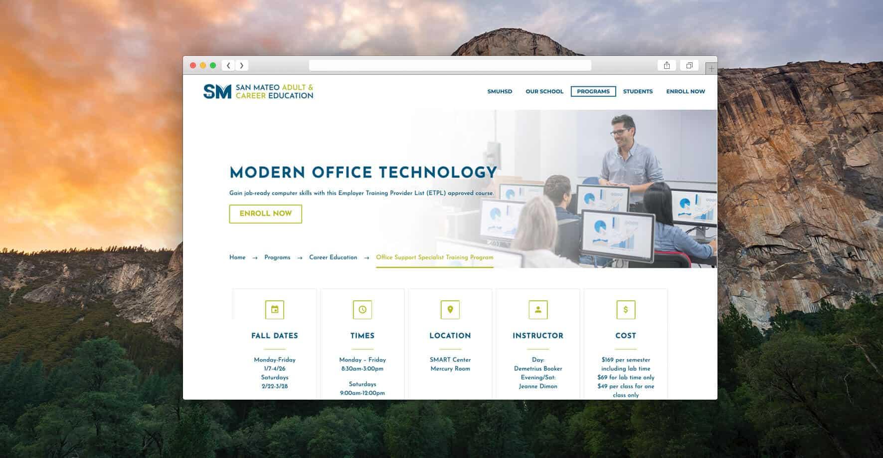 San Mateo Adult & Career Education Safari Mockup