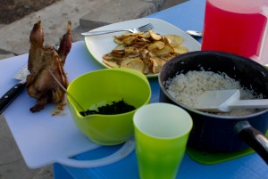 """Yum! South Sudan feast! Fresh roasted chicken, wild kutra and garlic, fried potatoes and rice with strawberry """"juice"""""""