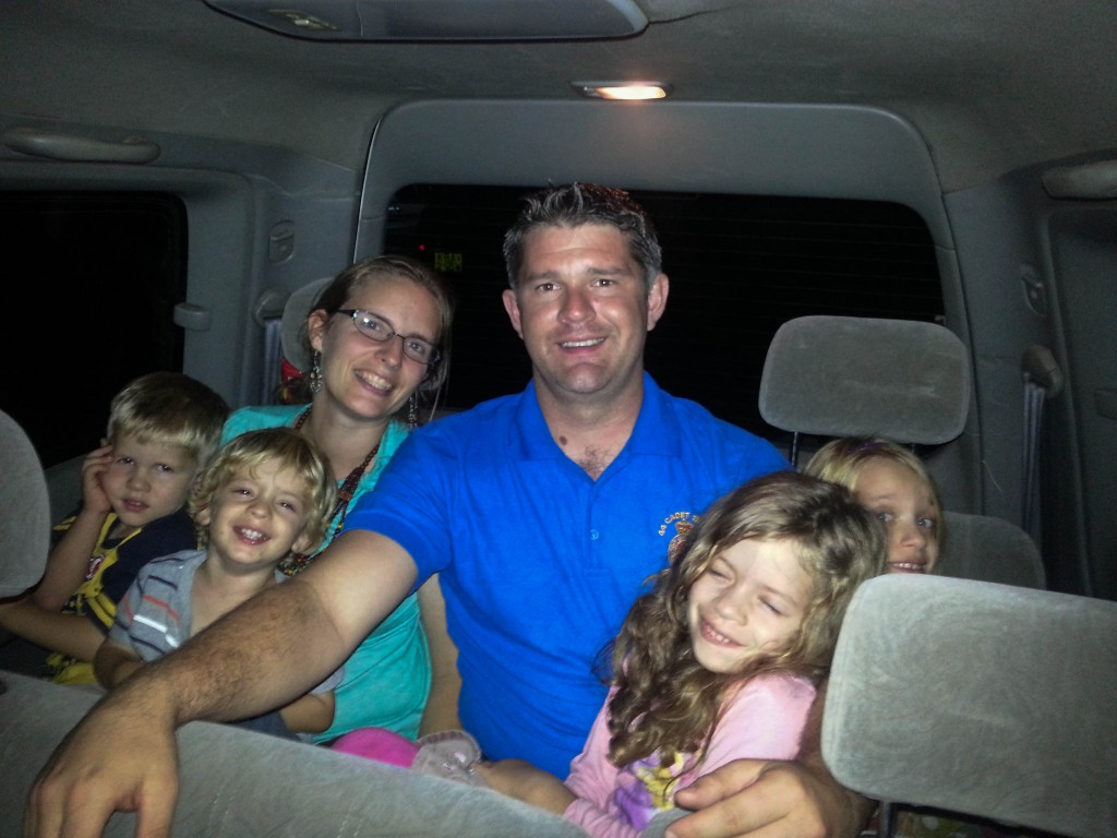 Being driven home from the party-we all still fit in one seat!