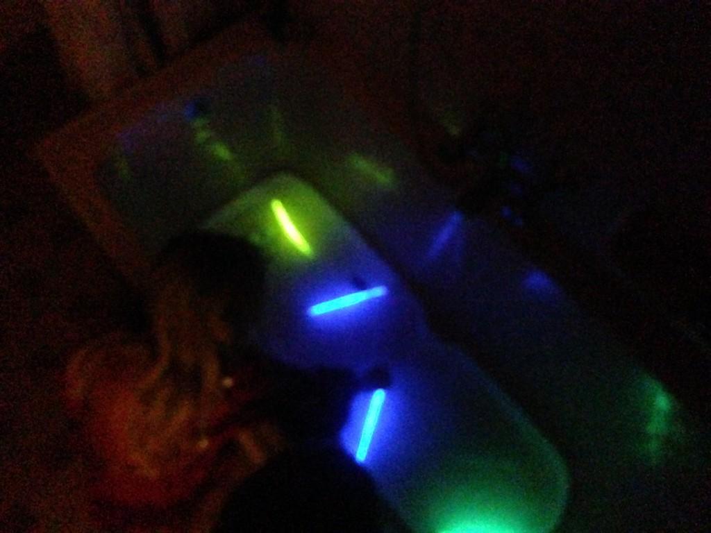 11.09-glowsticks in the bathtub