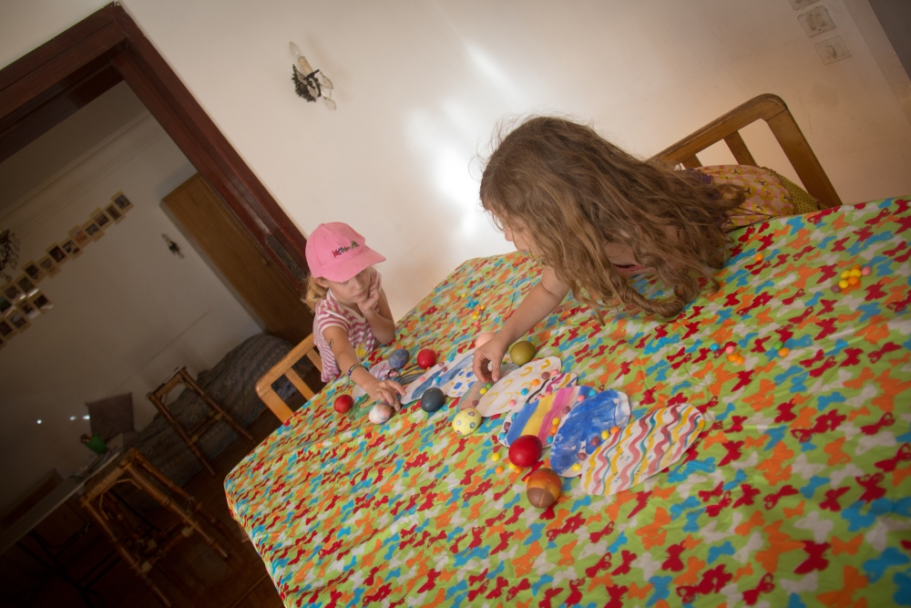 The girls helped me decorate the table for our guests. They used jellybeans, their resurrection and decorated eggs.