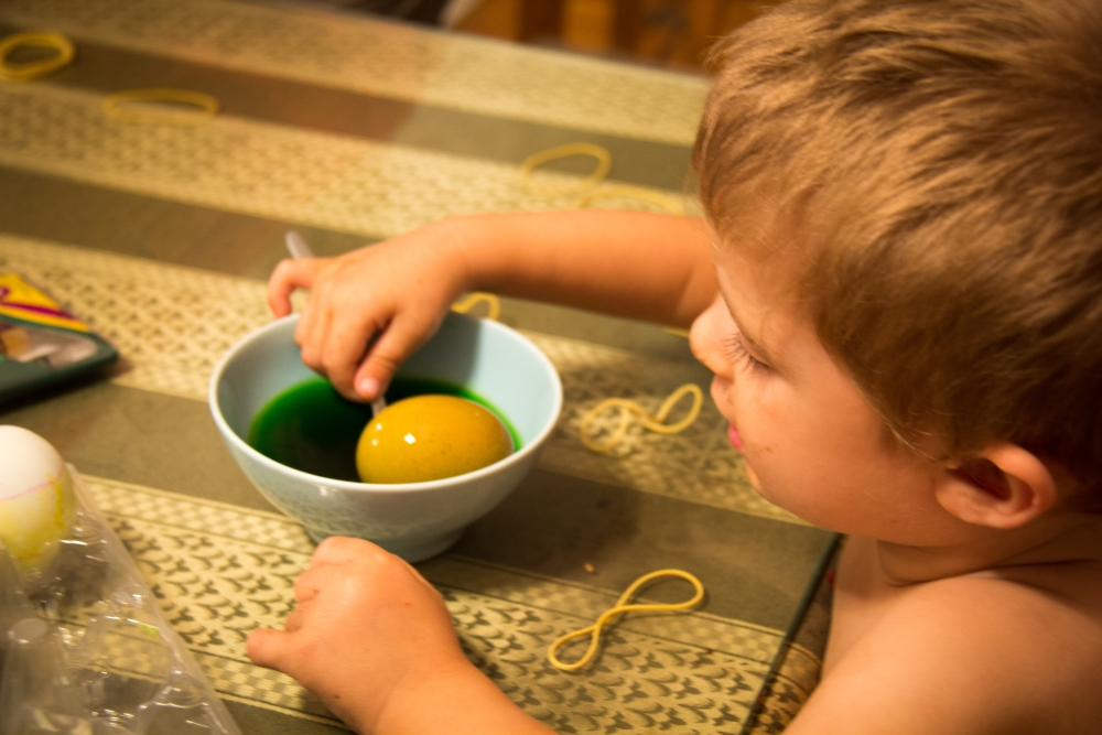 Even little D. got into egg decorating much to my dismay.