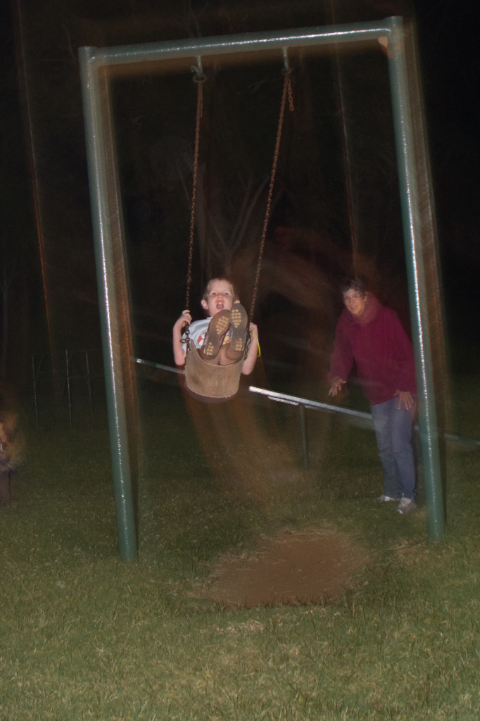 """Late night swing rides by the fabulous """"Auntie Claire"""""""