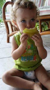 Skyler eating carambola a.k.a starfruit