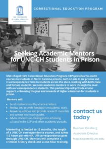 UNC-Chapel Hill flyer for correctional education program mentors