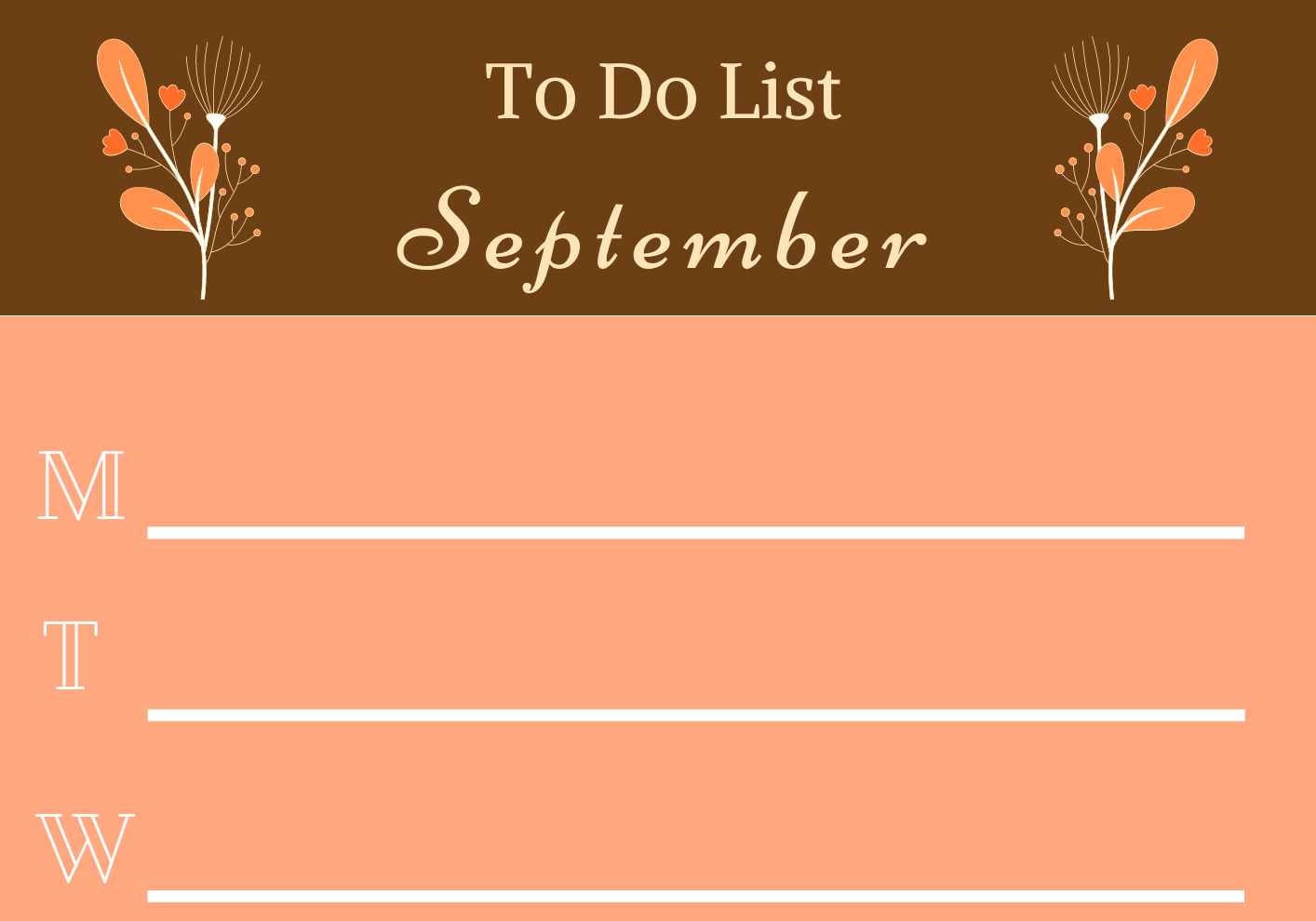 To-do list in September